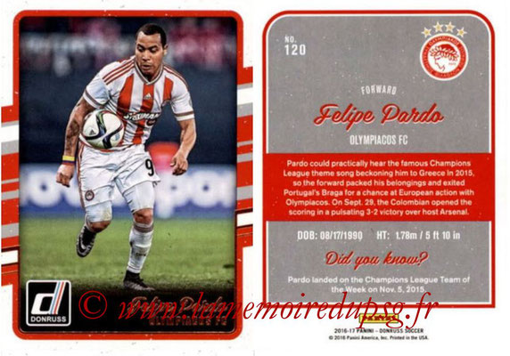2016 - Panini Donruss Cards - N° 120 - Felipe PARDO (Olympiacos FC)