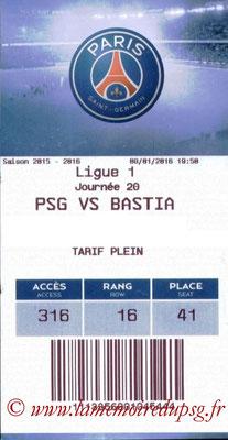 Tickets  PSG-Bastia  2015-16