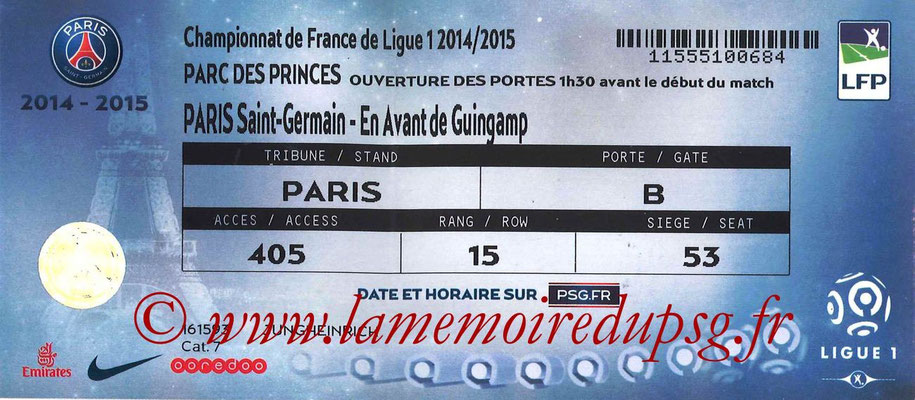 Tickets  PSG-Guingamp  2014-15