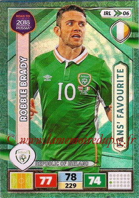 2018 - Panini Road to FIFA World Cup Russia Adrenalyn XL - N° IRL06 - Robbie BRADY (République d'Irlande) (Fans' Favourite) (UK Version)