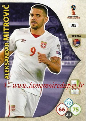 2018 - Panini FIFA World Cup Russia Adrenalyn XL - N° 315 - Aleksandar MITROVIC (Serbie)