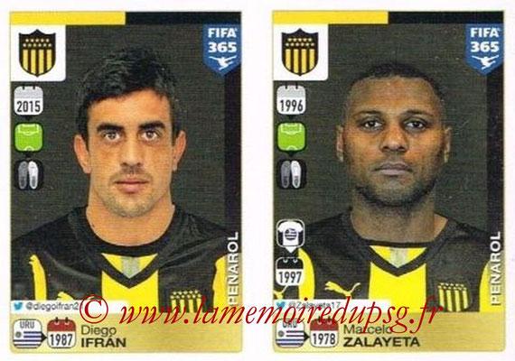 2015-16 - Panini FIFA 365 Stickers - N° 847-848 - Diego IFRAN + Marcelo ZALAYETA (Penarol)