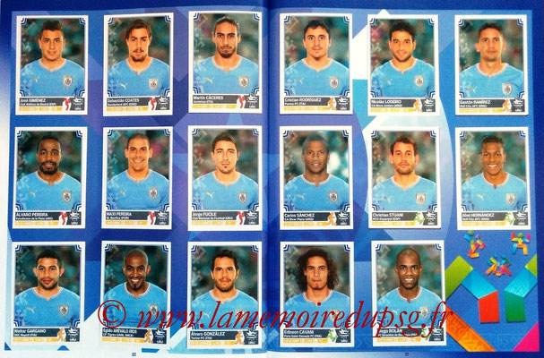 Panini Copa America Chile 2015 Stickers - Pages 20 et 21 - Uruguay