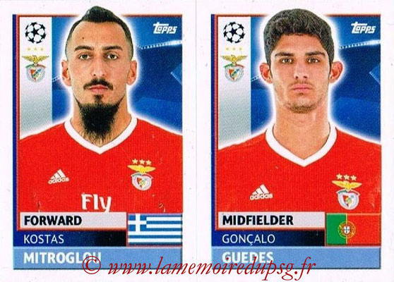 2016-17 - Topps UEFA Champions League Stickers - N° BEN 16-17 - Gonçalo GUEDES + Kostas MITROGLOU (SL BenFica)