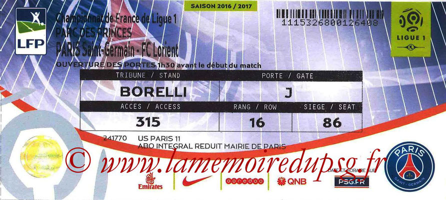 Tickets  PSG-Lorient  2016-17