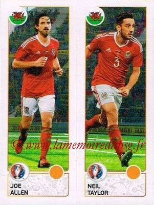 Panini Euro 2016 Stickers - N° 205 - Joe ALLEN + Neil TAYLOR (Pays de Galles)