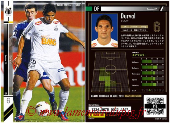 Panini Football League 2013 - PFL01 - N° 103 - Durval ( Santos FC )
