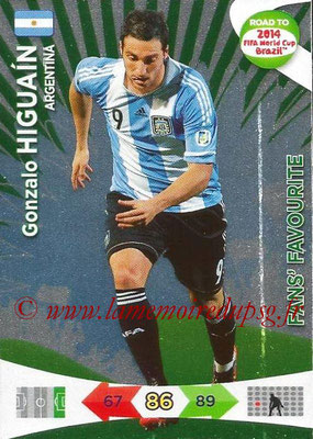 2014 - Panini Road to FIFA World Cup Brazil Adrenalyn XL - N° 191 - Gonzalo HIGUAIN (Argentine) (Fan's Favourite)