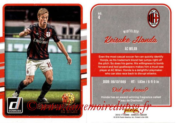 2016 - Panini Donruss Cards - N° 004 - Keisuke HONDA (Milan AC)