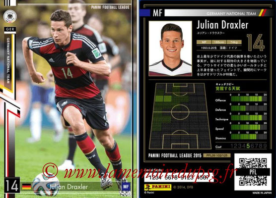 Panini Football League 2015 - PFL09 - N° 102 - Julian DRAXLER (Allemagne)