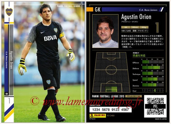 Panini Football League 2013 - PFL04 - N° 081 - Agustin ORION (Boca Juniors)