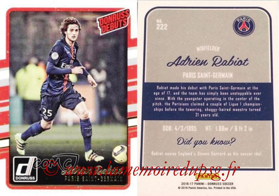 2016 - Panini Donruss Cards - N° 222 - Adrien RABIOT (Paris Saint-Germain) (Donruss Debuts)