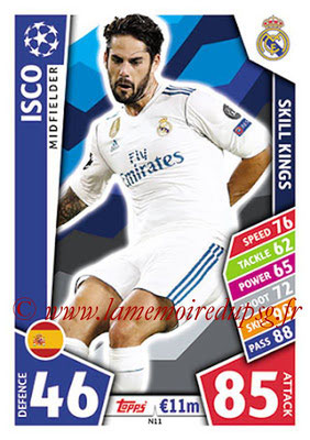 2017-18 - Topps UEFA Champions League Match Attax - N° N11 - ISCO (Real Madrid CF) (Skill Kings) (Nordic Edition)