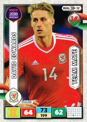 2018 - Panini Road to FIFA World Cup Russia Adrenalyn XL - N° WAL12 - David EDWARDS (Pays de Galles)