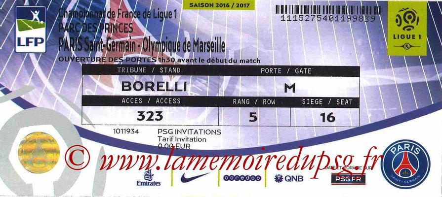Tickets  PSG-Marseille  2016-17