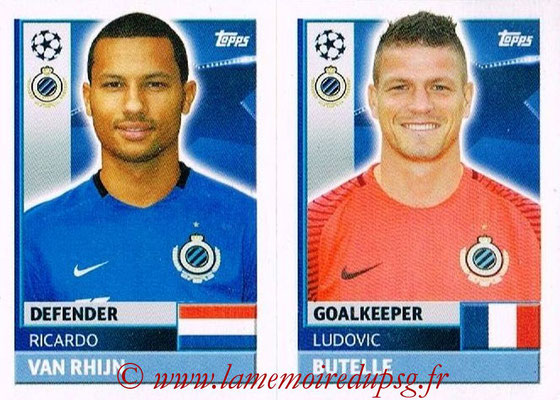 2016-17 - Topps UEFA Champions League Stickers - N° BRU 4-5 - Ludovic BUTELLE + Ricardo VAN RHIJN (Club Bruges)
