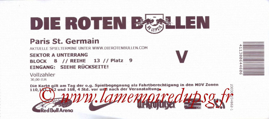Ticket  Leipzig-PSG  2014-15