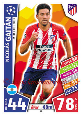 2017-18 - Topps UEFA Champions League Match Attax - N° 046 - Nicolas GAITAN (Club Atletico de Madrid)