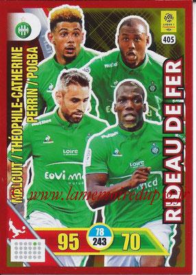 2017-18 - Panini Adrenalyn XL Ligue 1 - N° 405 - MALCUIT + THEOPHILE-CATHERINE + PERRIN + POGBA (Saint-Etienne) (Rideau de Fer)