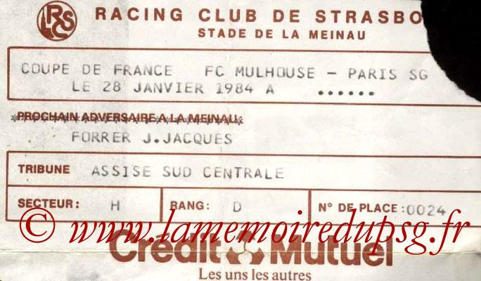 Ticket  Mulhouse-PSG  1983-84