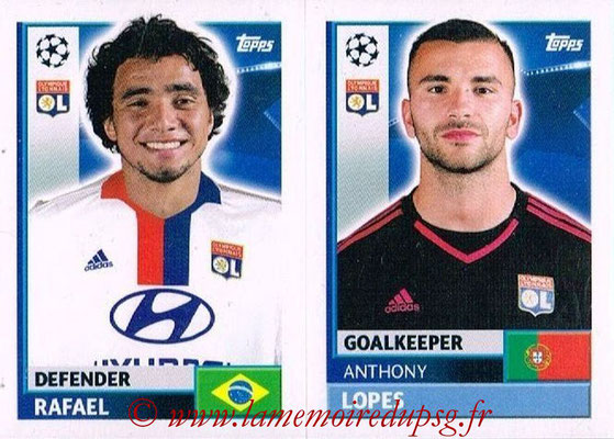 2016-17 - Topps UEFA Champions League Stickers - N° LYO 4-5 - Anthony LOPES + RAFAEL (Olympique Lyonnais)