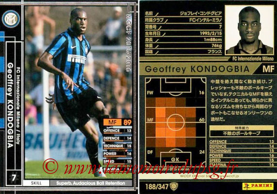 2015-16 - Panini WCCF - N° 188 - Geoffrey KONDOGBIA (FC Inter Milan)