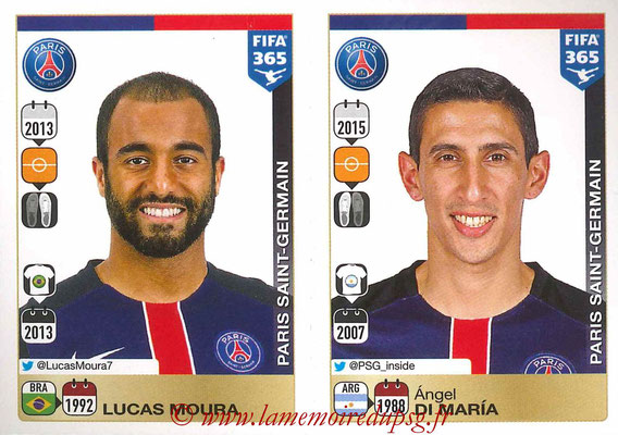 2015-16 - Panini FIFA 365 Stickers - N° 455-456 - LUCAS Moura + Angel DI MARIA (Paris Saint-Germain)