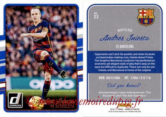 2016 - Panini Donruss Cards - N° 022 - Andrés INIESTA (FC Barcelone)