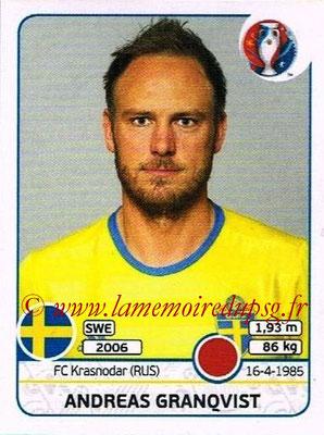 Panini Euro 2016 Stickers - N° 552 - Andreas GRANQVIST (Suède)