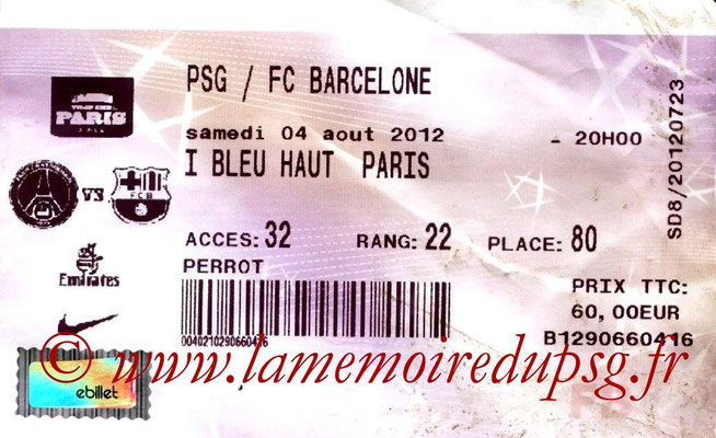 Tickets  PSG-Barcelone  2012-13