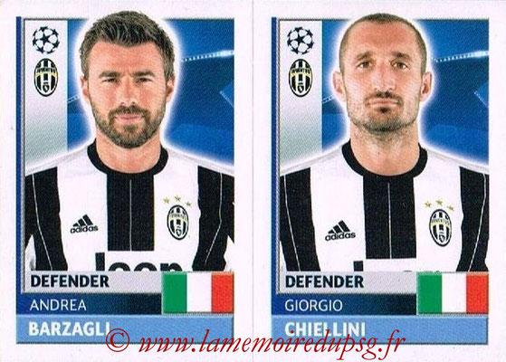 2016-17 - Topps UEFA Champions League Stickers - N° JUV 10-11 - Giorgio CHIELLINI + Andrea BARZAGLI (Juventus FC)