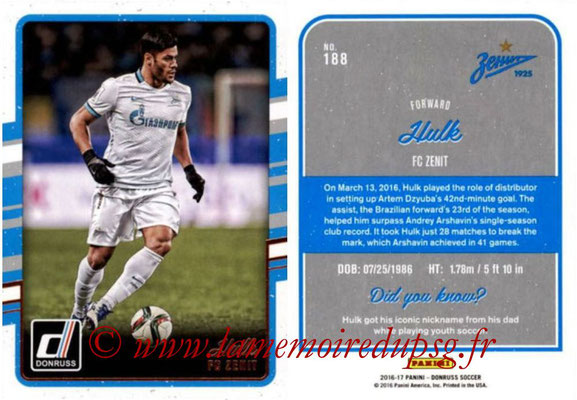 2016 - Panini Donruss Cards - N° 188 - HULK (FC Zenit)