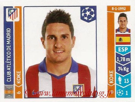 2014-15 - Panini Champions League N° 044 - KOKE (Atletico Madrid)