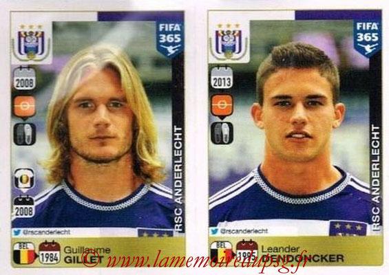 2015-16 - Panini FIFA 365 Stickers - N° 140-141 - Guillaume GILLET + Leander DENDONCKER (RSC Anderlecht)