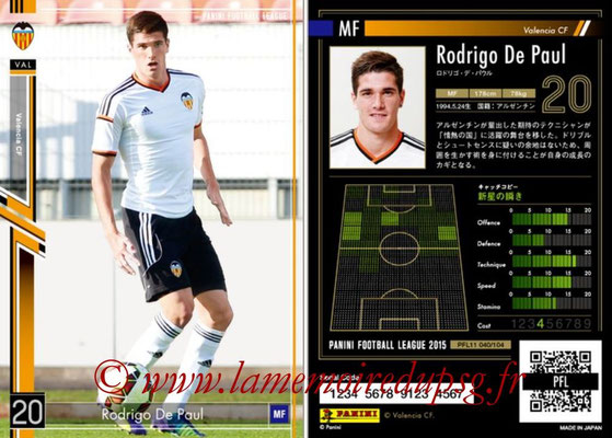 Panini Football League 2015 - PFL11 - N° 040 - Rodrigo DE PAUL (FC Valence)