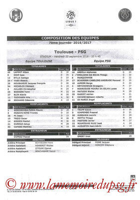 Feuille de match  Toulouse-PSG  2016-17