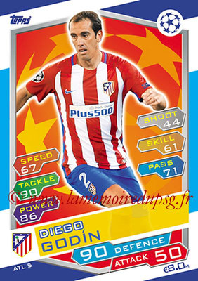 2016-17 - Topps UEFA Champions League Match Attax - N° ATL5 - Diego GODIN (Club Atletico de Madrid)