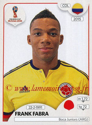 2018 - Panini FIFA World Cup Russia Stickers - N° 637 - Frank FABRA (Colombie)