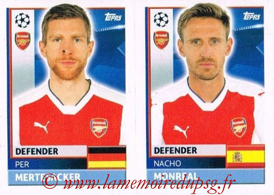 2016-17 - Topps UEFA Champions League Stickers - N° ARL 6-7 - Nacho MONREAL + Per MARTESACKER (Arsenal FC)