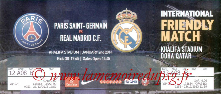 Ticket  PSG-Real Madrid  2013-14