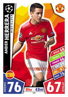 2017-18 - Topps UEFA Champions League Match Attax - N° 155 - Ander HERRERA (Manchester United)