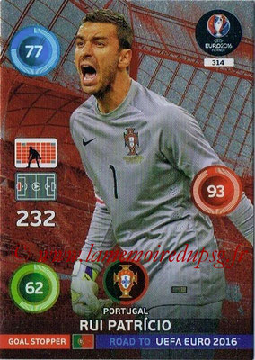 Panini Road to Euro 2016 Cards - N° 314 - Rui PATRICIO (Portugal) (Goal Stopper)
