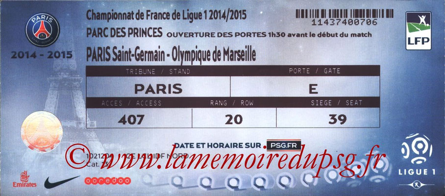 Tickets  PSG-Marseille  2014-15