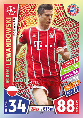 2017-18 - Topps UEFA Champions League Match Attax - N° 069 - Robert LEWANDOWSKI (FC Bayern Munich) (Hot Shot)