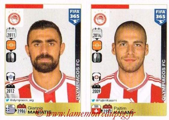2015-16 - Panini FIFA 365 Stickers - N° 530-531 - Giannis MANIATIS + Pajtim KASAMI (Olympiacos FC)