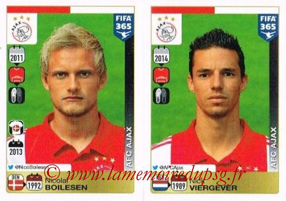 2015-16 - Panini FIFA 365 Stickers - N° 646-647 - Nicolai BOILESEN + Nick VIERGEVER (AFC Ajax)