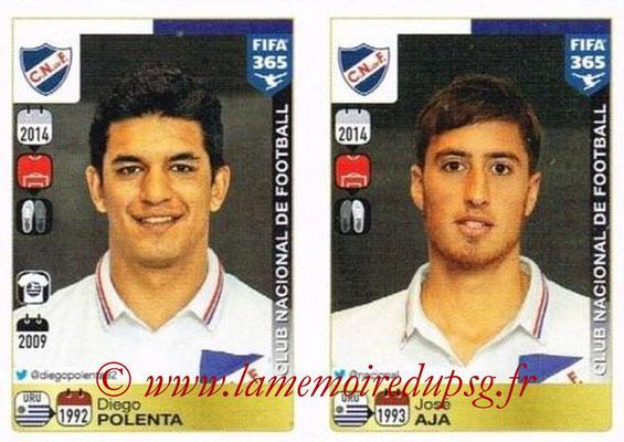 2015-16 - Panini FIFA 365 Stickers - N° 794-795 - Diego POLENTA + José AJA (Club Nacional de Football)