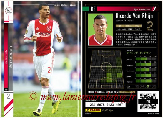 Panini Football League 2013 - PFL04 - N° 113 - Ricardo VAN RHIJN (Ajax Amsterdam)
