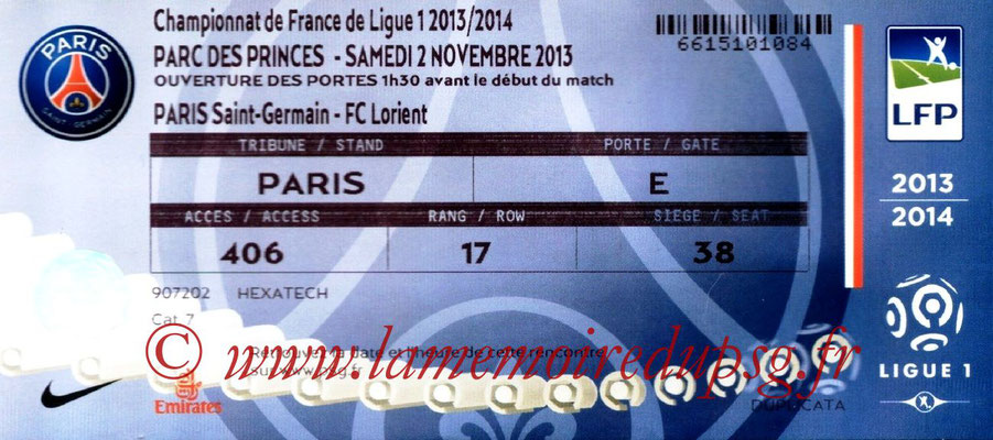 Tickets  PSG-Lorient  2013-14