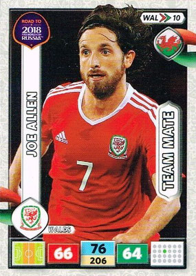 2018 - Panini Road to FIFA World Cup Russia Adrenalyn XL - N° WAL10 - Joe ALLEN (Pays de Galles)